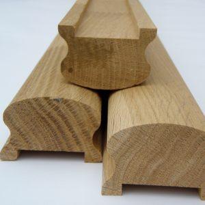 Поручень сращенный (дуб) 1с, длина 2,2-4,0 м, размеры 40х65 мм для деревянных лестниц